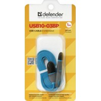 "Кабель Defender Apple 8-pin 87487 + micro USB 1m ""Blue"""